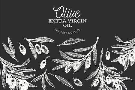 Olive branch design template. Hand drawn vector food illustration on chalk board. Engraved style mediterranean plant. VIntage botanical picture.