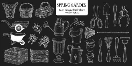 Hand drawn set of different gardening tools. Vector illustrations on chalk board. Garden utensils