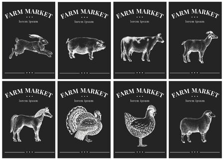 Labels with farm animals. Vintage set templates price tags for shops and markets. Vector illustrations on chalk board.
