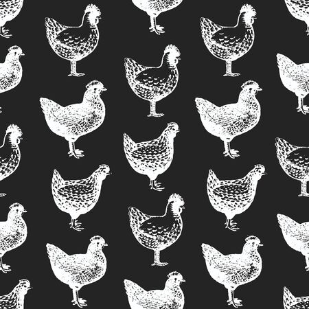 Hand drawn poultry seamless pattern. Vector chicken illustrations on chalk board. Vintage farm birds background