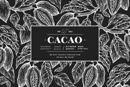 Hand drawn cocoa design template. Vector cacao plants illustrations on chalk board. Retro natural chocolate background Vetores