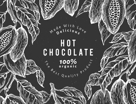 Hand drawn cocoa design template. Vector cacao plants illustrations on chalk board. Retro natural chocolate background