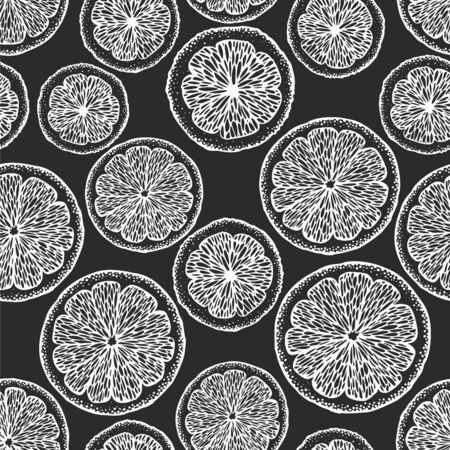Hand drawn citrus seamless pattern. Vector oranges and lemons illustrations on chalk board. Retro fruit background