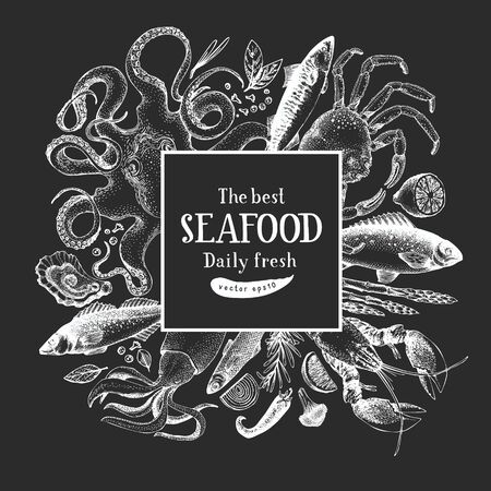 Hand drawn seafood design template. Vector crabsfishes and oystrers illustrations on chalk board. Retro marine background