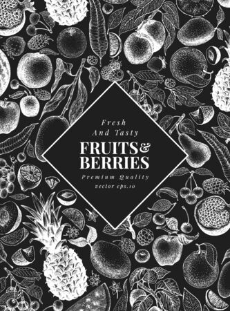 Hand drawn fruits and berries design template. Vector fruits illustrations on chalk board. Retro food background