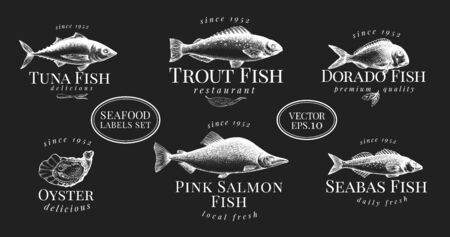 Labels with seafood. Retro set templates price tags for shops and markets. Vector illustrations on chalk board.