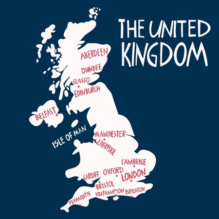 Vector hand drawn stylized map of the United Kingdom. Travel illustration of Great Britain cities. Hand drawn lettering illustration. Europe map element Stock Illustratie