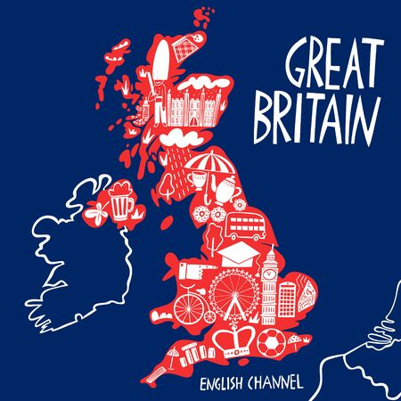 Vector hand drawn stylized map of the United Kingdom. Travel illustration of Great Britain landmarks. Hand drawn lettering illustration. Europe map element  イラスト・ベクター素材