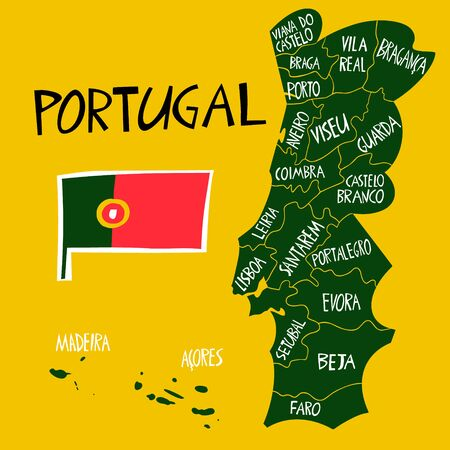 Vector hand drawn stylized map of Portugal. Travel illustration of Portuguese Republic regions shape with names. Hand drawn lettering illustration. Europe map element