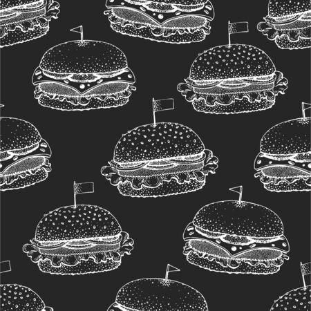 Hand drawn burger seamless pattern. Vector Americam hamburger illustrations on chalk board. Vintage fast food background