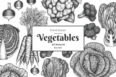 Hand drawn sketch vegetables design. Organic fresh food vector banner template. Vintage vegetable background. Engraved style botanical illustrations. Vettoriali
