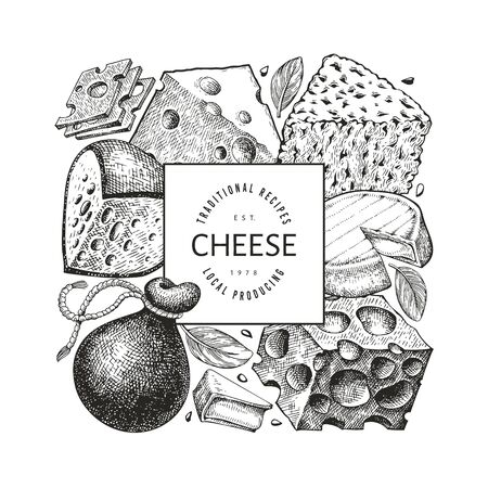 Cheese design template. Hand drawn vector dairy illustration. Engraved style different cheese kinds banner. Vintage food background. Illustration