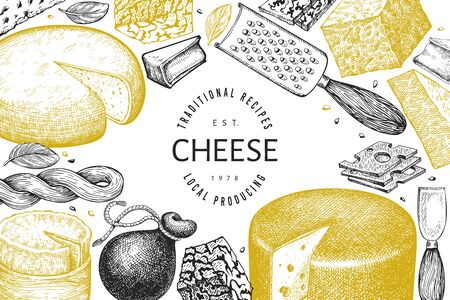 Cheese design template. Hand drawn vector dairy illustration. Engraved style different cheese kinds banner. Vintage food background. Иллюстрация