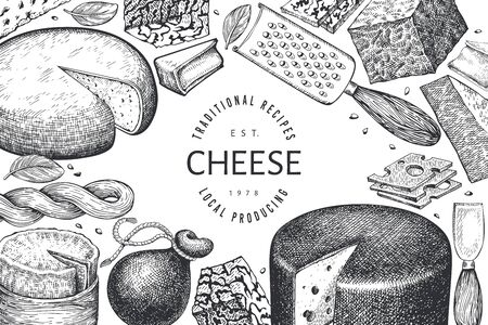 Cheese design template. Hand drawn vector dairy illustration. Engraved style different cheese kinds banner. Vintage food background. Vectores
