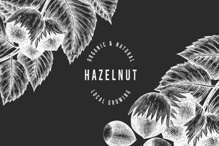 Hand drawn sketch hazelnut design template. Organic food vector illustration on chalk board. Retro nut illustration. Engraved style botanical background.