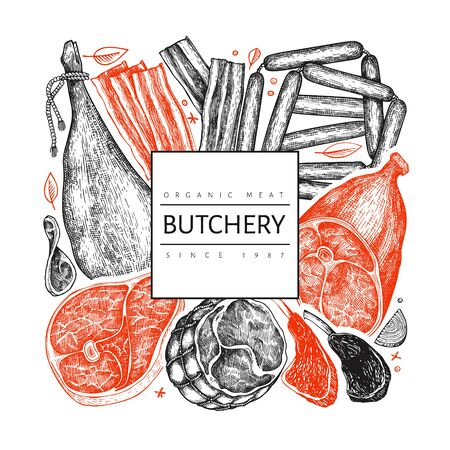 Vintage vector meat products design template. Hand drawn ham, sausages, jamon, spices and herbs. Raw food ingredients. Vintage illustration. Can be use for restaurant menu.
