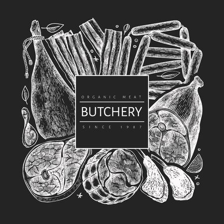 Vintage vector meat products design template. Hand drawn ham, sausages, jamon, spices and herbs. Vintage illustration on chalk board. Can be use for restaurant menu. Ilustracja