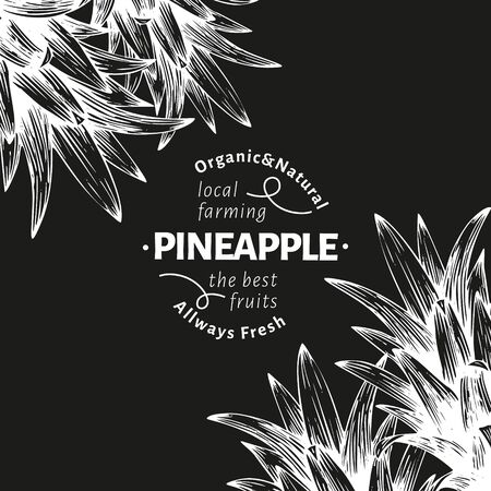 Pineapples and tropical leaves design template. Hand drawn vector tropical fruit illustration on chalk board. Engraved style ananas fruit banner. Retro botanical frame.