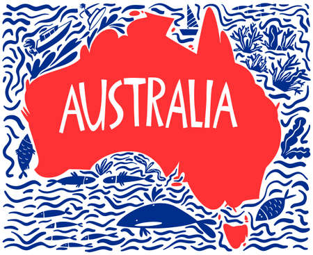 Vector hand drawn stylized map of Australia. Travel illustration of Commonwealth of Australia and waters. Hand drawn lettering illustration. South lands map element