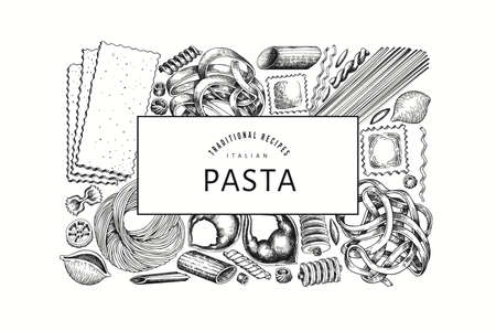 talian pasta design template. Hand drawn vector food illustration. Engraved style. Retro pasta different kinds background.