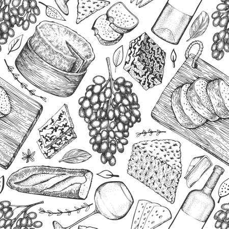 French food illustration seamless pattern. Hand drawn vector picnic meal illustrations. Engraved style different snack and wine design. Vintage food background.