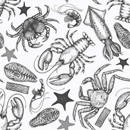 Seafood seamless pattern. Hand drawn vector seafood illustration. Engraved style food banner. Vintage sea animals background Ilustracje wektorowe