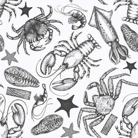 Seafood seamless pattern. Hand drawn vector seafood illustration. Engraved style food banner. Vintage sea animals background Vetores
