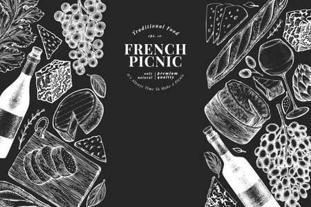 French food illustration design template. Hand drawn vector picnic meal illustrations on chalk board. Engraved style different snack and wine banner. Vintage food background.