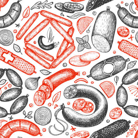Vintage vector meat products seamless pattern. Hand drawn sausage, wurst and herbs background. Meat food vintage illustrations 일러스트