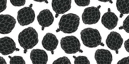 Hand drawn vector artichoke seamless pattern. Organic cartoon fresh vegetable illustration. Cute vegetable botanical background.