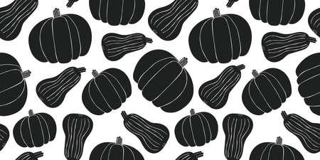 Hand drawn vector pumpkin seamless pattern. Organic cartoon fresh vegetable illustration. Cute vegetable botanical background.