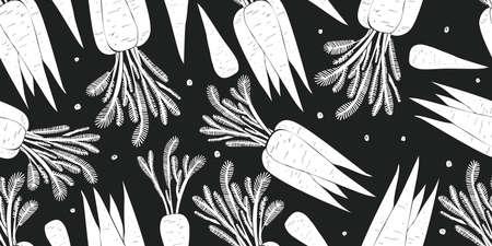 Hand drawn vector carrot seamless pattern. Organic cartoon fresh vegetable illustration. Cute vegetable botanical background.