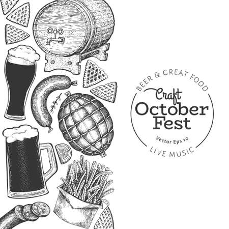 Octoberfest banner. Vector hand drawn illustrations. Greeting Beer festival design template in retro style. Autumn background.