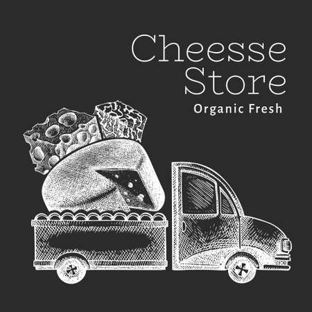Cheese shop delivery logo template. Hand drawn vector truck with cheese illustration on chalk board. Engraved style retro food design. 向量圖像