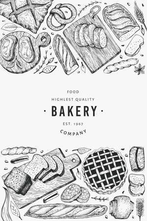 Bread and pastry banner. Vector bakery hand drawn illustration. Vintage design template. 矢量图像