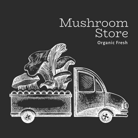 Mushroom shop delivery logo template. Hand drawn vector truck with mushroom illustration on chalk board. Engraved style retro food design. 矢量图像