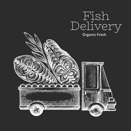 Fish shop delivery logo template. Hand drawn vector truck with fish illustration on chalk board. Engraved style retro food design.