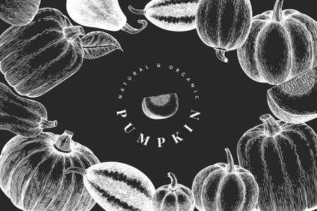 Pumpkin design template. Vector hand drawn illustrations on chalk board. Thanksgiving backdrop in vintage style with pumpkin harvest. Autumn background. 矢量图像