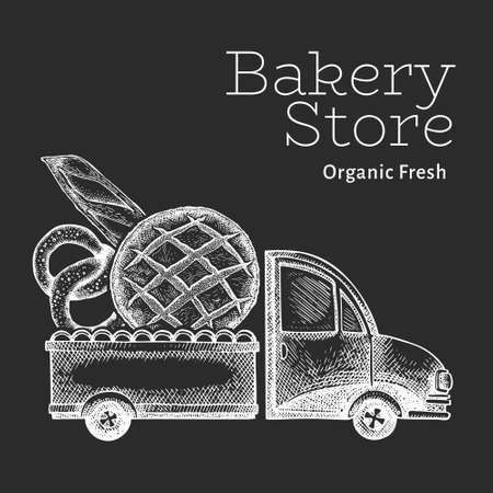 Bakery delivery logo template. Hand drawn vector truck with bread illustration on chalk board. Engraved style retro food design.