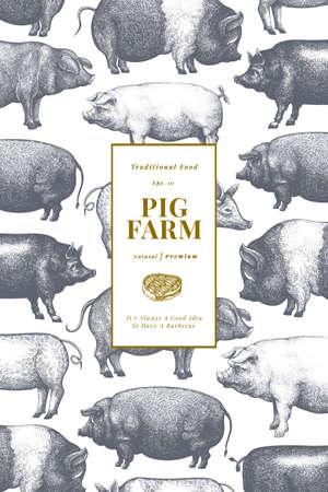 Hand drawn farm animals background. Vector pig design template. Retro hog illustration