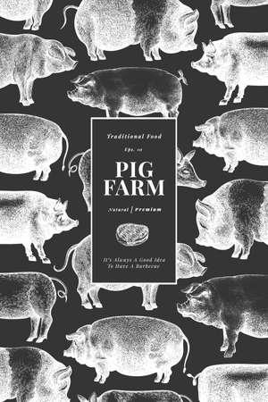 Hand drawn farm animals background. Vector pig design template. Retro hog illustration on chalk board 矢量图像