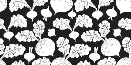Hand drawn vector beetroot seamless pattern. Organic cartoon fresh vegetable illustration. Cute vegetable botanical background.