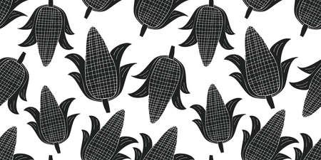 Hand drawn vector corn seamless pattern. Organic cartoon fresh vegetable illustration. Cute vegetable botanical background. 矢量图像