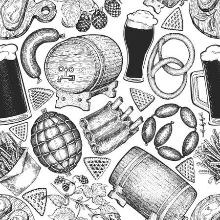 Octoberfest seamless pattern. Vector hand drawn illustrations. Greeting Beer festival design in retro style. Autumn background. 矢量图像