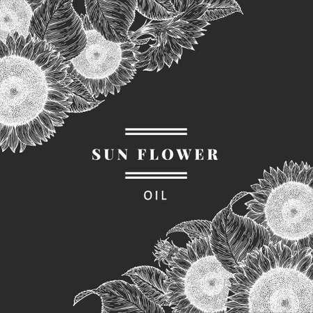 Hand drawn sunflower design template. Vintage  background. Botany illistrations on chalk board 矢量图像