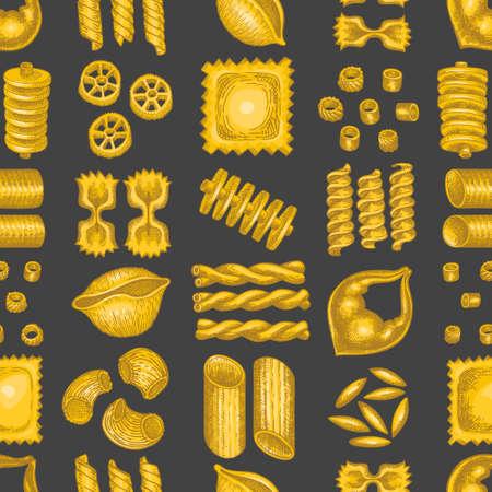 Italian pasta seamless pattern. Hand drawn  food illustration.