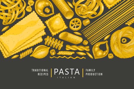 Italian pasta design template. Hand drawn  food illustration on dark background. Vintage pasta different kinds background. Vettoriali