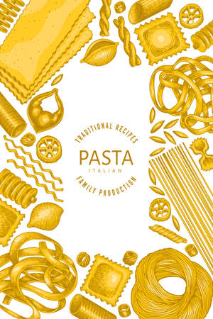 Italian pasta design template. Hand drawn  food illustration. Vintage pasta different kinds background. 矢量图像
