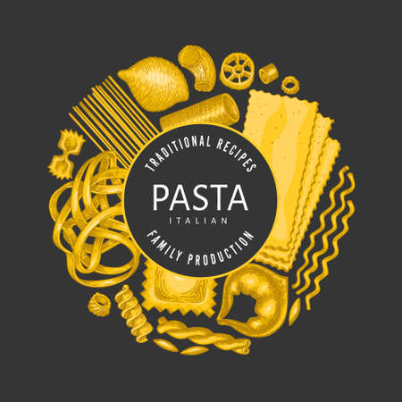 Italian pasta design template. Hand drawn food illustration on dark background.