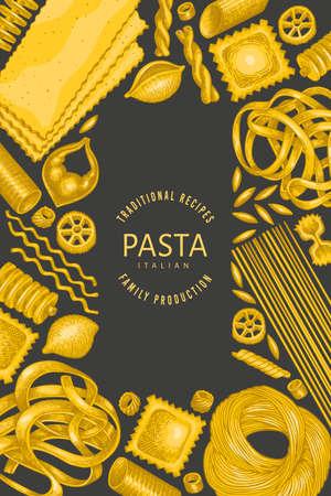 Italian pasta design template. Hand drawn  food illustration on dark background. Vintage pasta different kinds background. 矢量图像